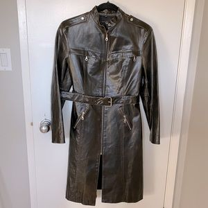 Rudsak Belted Moto Leather Trench Coat Brown - S